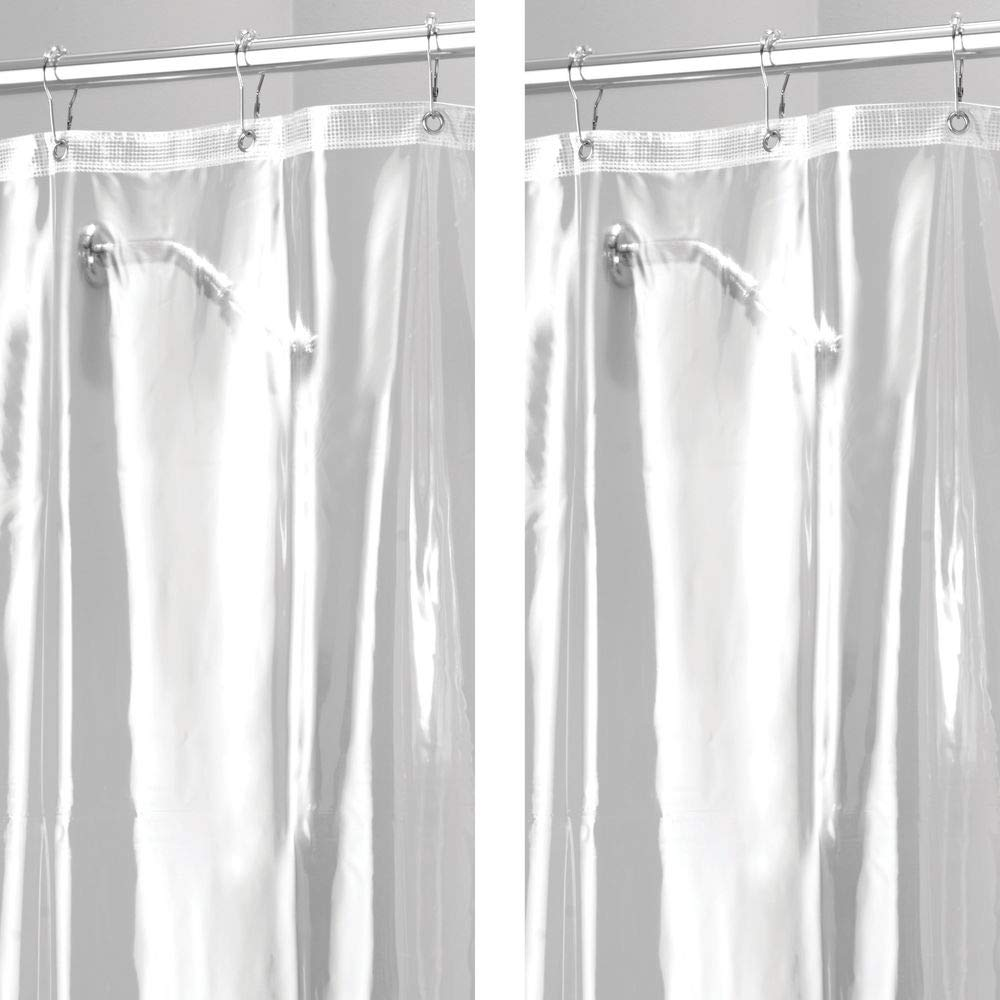 """mDesign - 2 Pack - Extra Long Waterproof, Mold/Mildew Resistant, Heavy Duty Premium Quality 10-Guage Vinyl Shower Curtain Liner for Bathroom Shower Stall and Bathtub - 72"""" x 96"""" - Clear"""