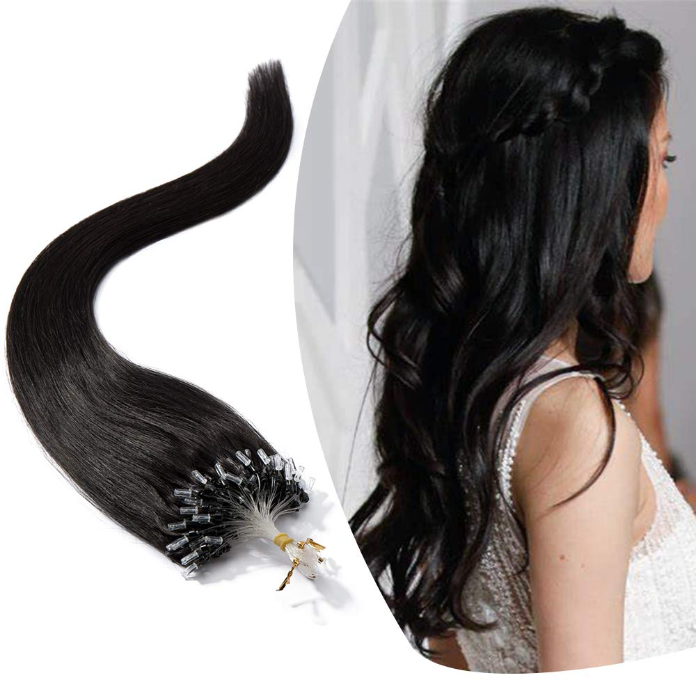 Micro Link Human Hair Extensions Micro Ring Loop Remy Hair Piece Beads Cold Fusion Stick Tipped Hair Fish Line Natural Straight Real Hair Extension For Women 20 inch 50g 100 Strands #1B Black