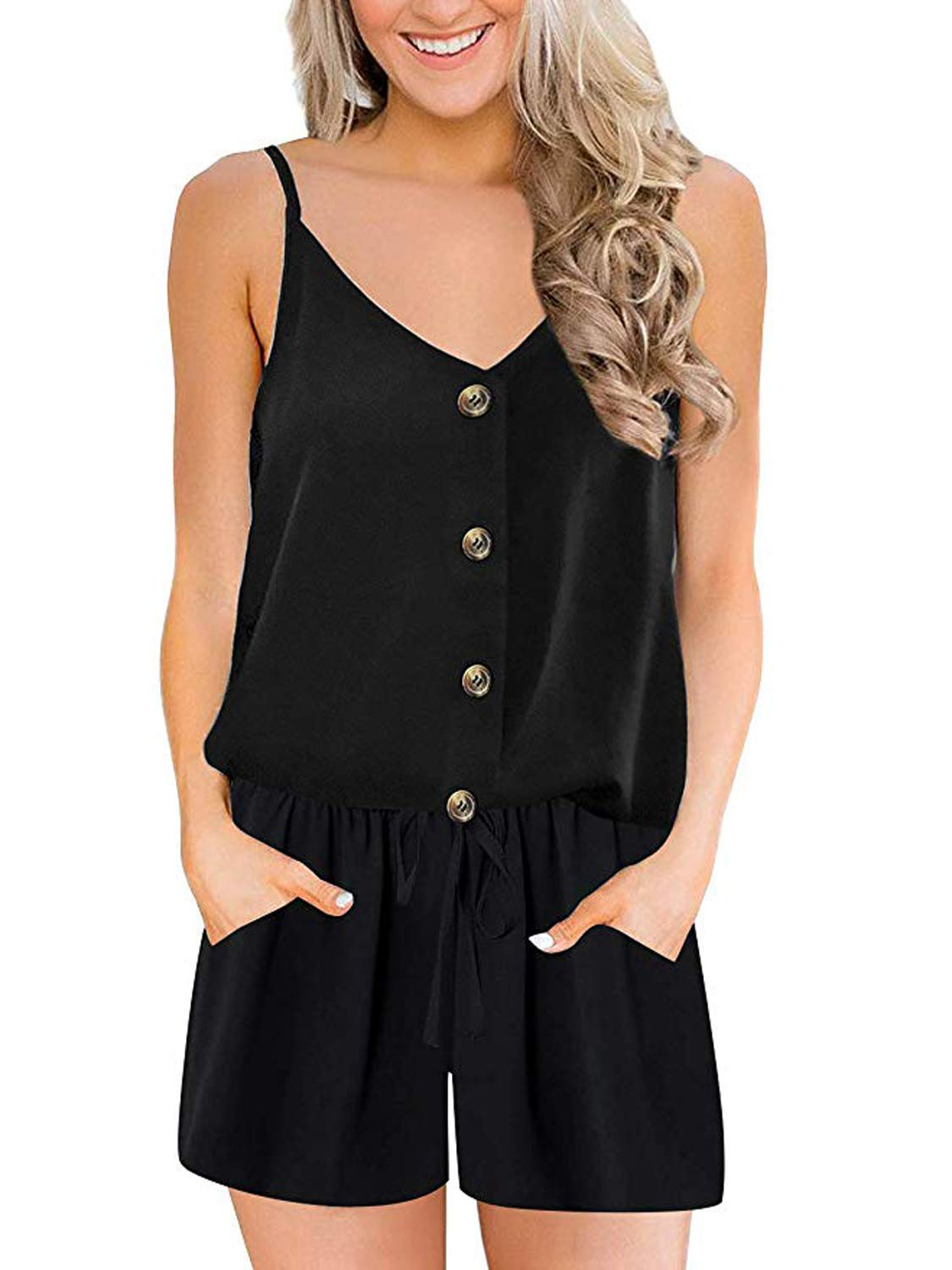 ANRABESS Women Summer Casual Spaghetti Strap Button Down V Neck Criss Cross Back Short Rompers Jumpsuits with Pockets