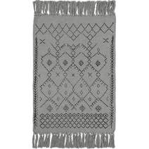 Wolala Home Gray Cotton Hand Woven Rug with Non-Slip Pads Tassels Print Handmade Area Rugs for Livingroom/Entryway 2x3 Feet Machine Washable Rug Mat(23''x35'')