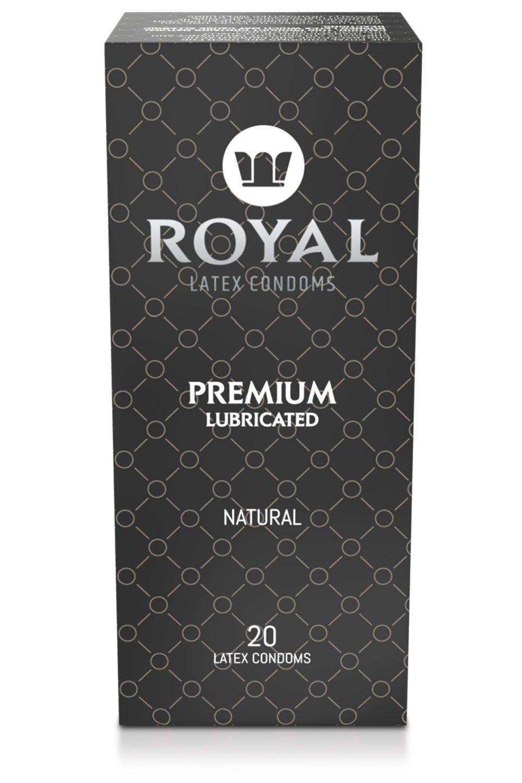 Royal Condoms - Ultra Thin, All Natural, Organic, Gluten Free, Nitrosamine Free, Cruelty Free Vegan, Latex Covered in Odor Free Water Based Premium Lube, 20 Count