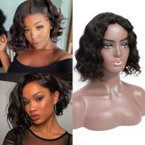 Short Body Wave Wigs Human Hair Wigs for Black Women Glueless with Middle Part Lace Wigs for Women Body Weave Wigs Natural Color(10 inches with 150% density)
