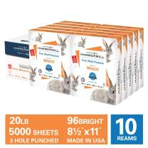 Hammermill Fore Multi-Purpose 20lb Copy Paper, 8.5x11, 3 Hole Punched, 10 Ream Case, 5000 Sheets, No Ream Wrap, Made in USA, Sourced From American Family Tree Farms, 96 Bright, Acid Free, 103275C