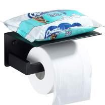 Toilet Paper Holder with Shelf, Angle Simple SUS304 Stainless Steel Bathroom Tissue Holder, Versatile Top Shelf, Lavatory Toilet Paper Tissue Roll Holder Hanger Wall Mount, Matte Black