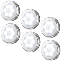 AMIR Upgraded Motion Sensor Light, Cordless Battery-Powered LED Night Light, Stick-anywhere Closet Lights Stair Lights, Safe Lights for Hallway, Bathroom, Bedroom, Kitchen (White - Pack of 6)
