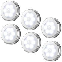 AMIR Upgraded Motion Sensor Light, Cordless Battery-Powered LED Night Light, Stick-anywhere Closet Lights Stair Lights, Safe Lights for Hallway, Bathroom, Bedroom, Kitchen (White - Pack of 6)