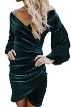 Happy Sailed Womens V Neck Velvet Club Wrap Sheath Cocktail Party Pencil Dress X-Large Green