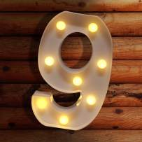 LECLSTAR Number Lights LED Marquee Light Up Letter Sign Number Lights for Night Light Wedding Birthday Party Christmas Home Bar Decoration Battery Powered, Create Cafe Ambience in Your Room - 9