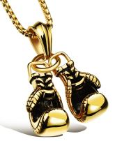 Hamoery Men Punk Stainless Steel Boxing Gloves Chain Pendant Necklace