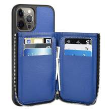 LAMEEKU Wallet Case for 12 Pro Max 6.7 inch (2020), Zipper Case with Card Holder Slot Money Pocket, Leather Kickstand Back Flip Protective Case Phone Cover 5G Dark Blue