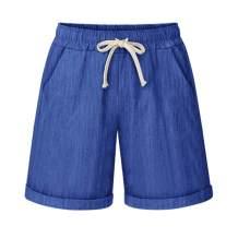 Fuwenni Women's Casual Summer Elastic Waist Shorts Cotton Linen Bermuda Shorts with Drawstring