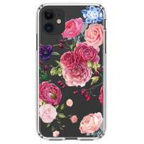 """HUIYCUU Compatible with iPhone 11 Case 6.1"""", Shockproof Anti-Slip Cute Glitter Clear Design Crystal Flower Pattern Funny Slim Fit Soft Bumper Girl Women Cover Case for iPhone 11 XI, Pink Rose"""