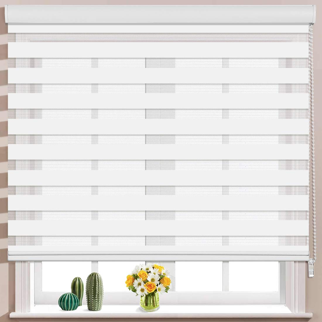 Keego Window Blinds Custom Cut to Size, White Zebra Blinds with Dual Layer Roller Shades, [Size W 35 x H 72] Dual Layer Sheer or Privacy Light Control for Day and Night