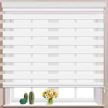 Keego Window Blinds Custom Cut to Size, White Zebra Blinds with Dual Layer Roller Shades, [Size W 60 x H 48] Dual Layer Sheer or Privacy Light Control for Day and Night