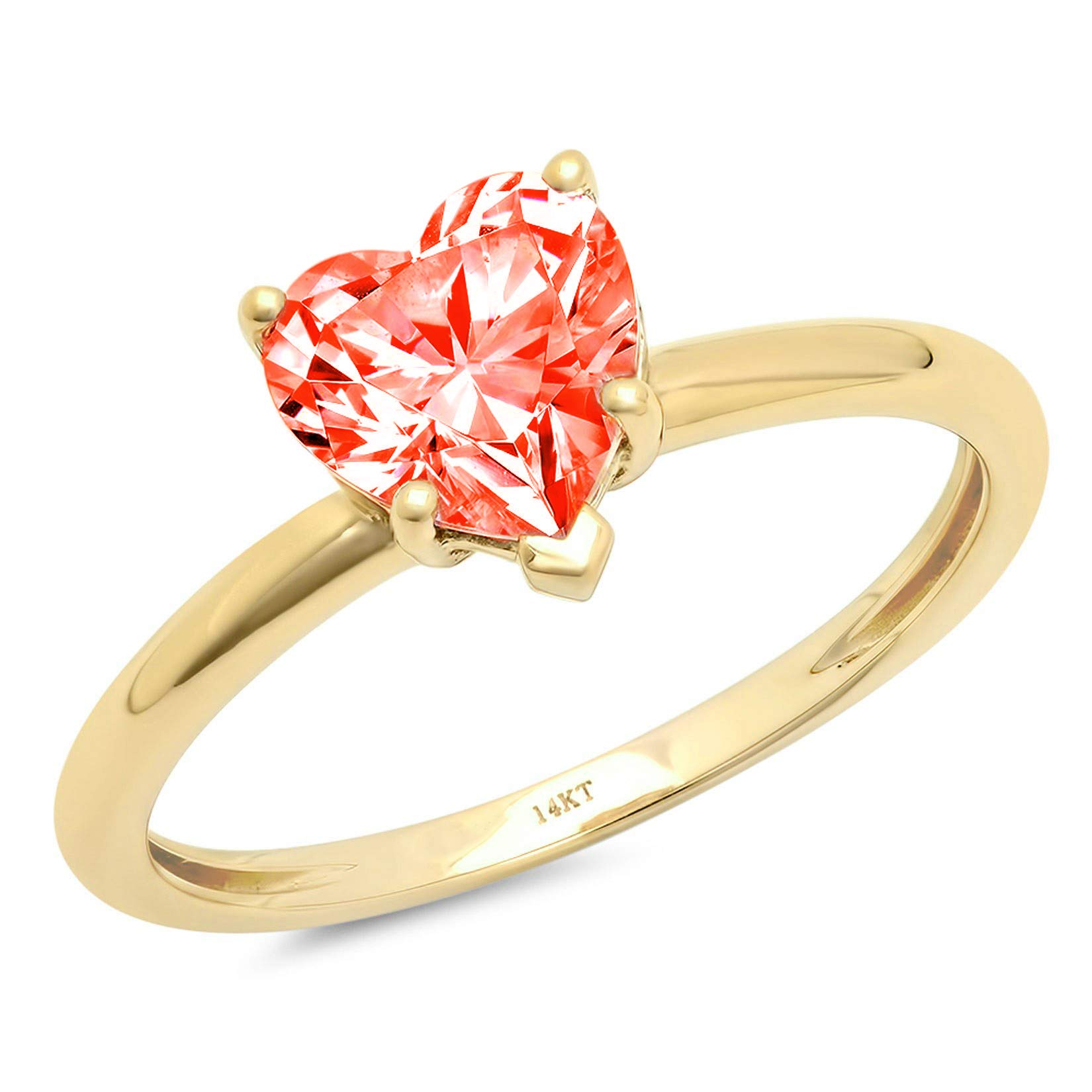 1.95ct Brilliant Heart Cut Solitaire Red Simulated Diamond CZ Ideal VVS1 D 5-Prong Classic Designer Statement Ring Solid Real 14k Yellow Gold for Women
