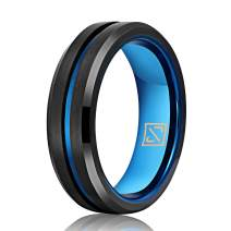 Luxffield 6MM 8MM Tungsten Ring Wedding Band for Men Women Thin Blue/Black/Rose Gold Centre Groove Ring, Brushed Finish Comfort Fit, Size 7.5 to 13