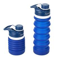 Anntrue Collapsible Water Bottle Food-Grade Silicone Portable Leak Proof Travel Water Bottle, 18oz(Navy Blue)
