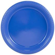 JAM PAPER Round Plastic Party Plates - Small - 7 inch - Blue - 20/Pack