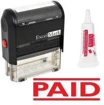 Paid Self Inking Rubber Stamp - Red Ink (Stamp Plus 5cc Refill Ink)