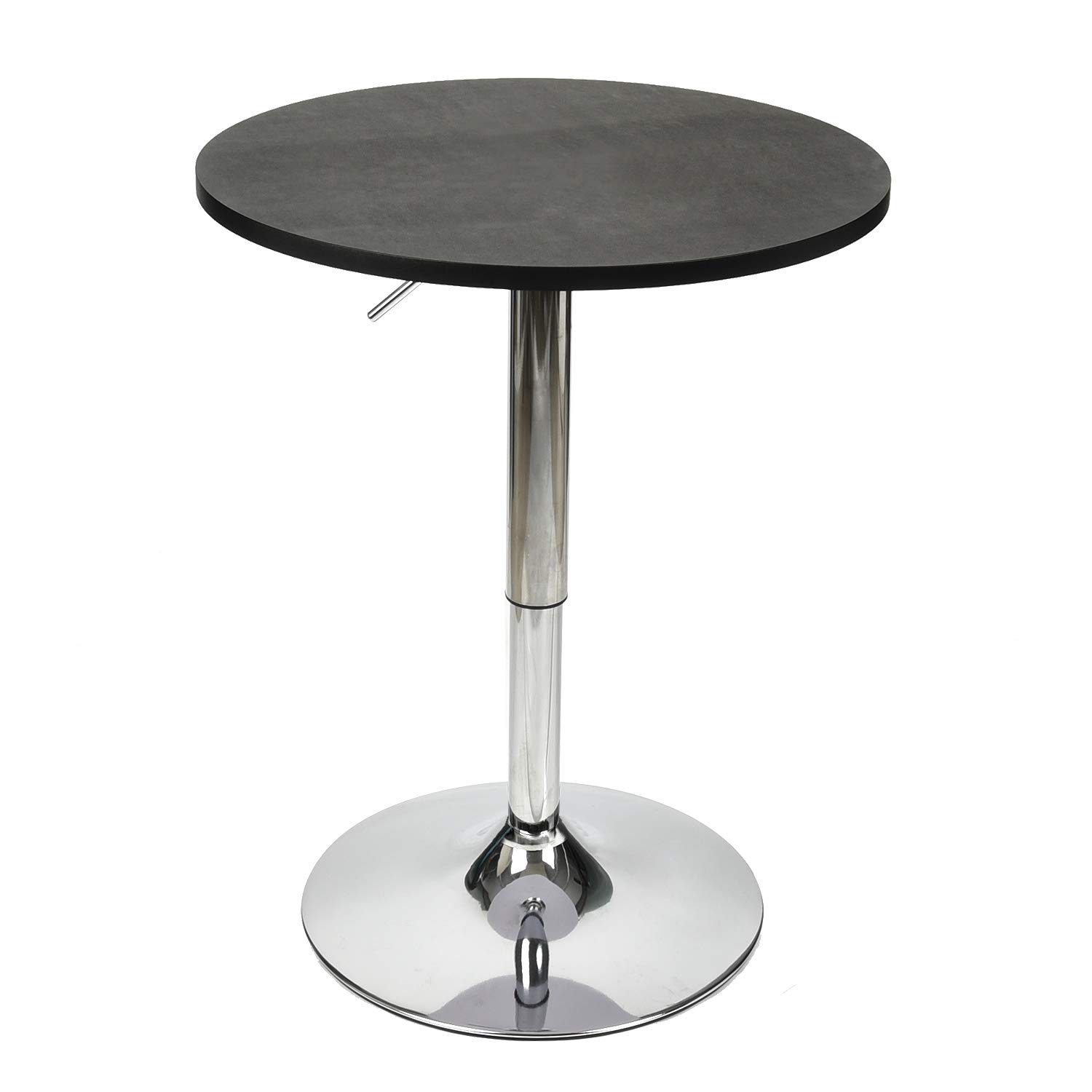 24 Inches Height Round Bar Table Adjustable Height Chrome Metal and Wood Cocktail Pub Table MDF Top 360°Swivel Furniture (Black)