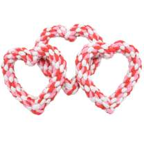 Barleygoo 3PCS Valentine's Day Dog Rope Toys Heart Shaped Durable Chew Toy for Small to Medium Dogs