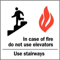 """ZING 1896A Zing Safety Sign, in Case of Fire Use Stairs with Picto, 10"""" Height x 7"""" Width, Recycled Aluminum,Black/Red/White"""