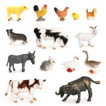 Volnau Mini Barnyard Toys 14PCS Farm Figurines Miniature Animals for Toddlers Kids Christmas Birthday Gift Plastic Dino Toys Figures Preschool Pack Goat Sheep Dog Chick Cow
