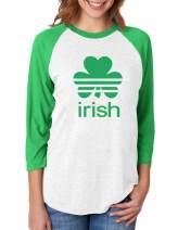 St. Patrick's Day Shamrock Clover Irish 3/4 Women Sleeve Baseball Jersey Shirt