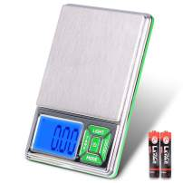 Fuzion Pocket Jewelry Scale, 300g/0.01g Digital Scale Gram, Grain and Ounces, 6 Units Mini Scale with LCD Back-lit Display, Tare Function for Jewelry, Food, Coffee, Battery Included, Green