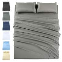 INGALIK Premium Bed Sheet Set 3 Piece 120 GSM Brushed Microfiber,1800 Series Hotel Luxury Bedding Sheets,Ultra Soft,Comfy,Fade Resistant,No Shrinkage,Hypoallergenic,Deep Pocket(Grey,Twin)
