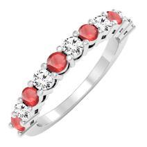 10K Gold Round Ruby & White Diamond Anniversary Stackable Wedding Band