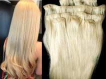 """Hair Faux You 18"""" Clip in Hair Extensions Real Human Hair 80g Clip on for Full Head 7 pieces, 14 clips, Silky Straight Weft Remy Hair Color #24 Light Golden Blonde"""