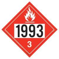 "1993 Placard, Class 3 Flammable Liquid 25-pk. - 10.75"" x 10.75"" Permanent Self Adhesive Vinyl - J. J. Keller & Associates - Complies with DOT Hazmat Placard Requirements"