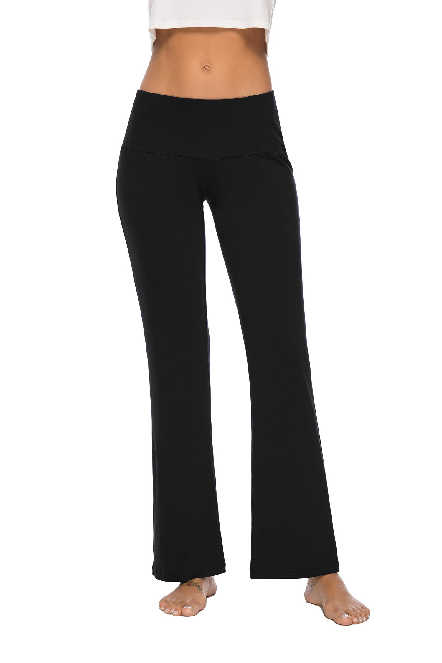 DIBAOLONG Womens Yoga Pants High Waist Bootcut Tummy Control Bootleg Power Flex Workout Leggings, Non See-Through