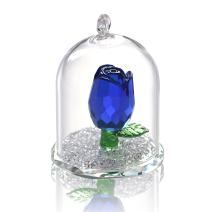 H&D Crystal Enchanted Rose Flower Figurine Dreams Ornament in a Glass Dome Gifts for her (Blue)