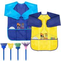 CUBACO 2 Pack Kids Art Smock, Children Waterproof Artist Painting Aprons Long Sleeve with 4 Painting Tools for Art Craft Cooking Lab Activity - Ages 3-8