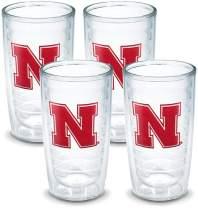 Tervis 1084215 Nebraska University Text Emblem Tumbler, Set of 4, 16 oz, Clear