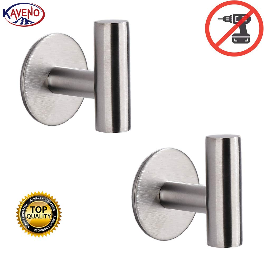 kaveno Bathroom Hook SUS 304 Stainless Steel Single Towel/Robe Clothes Hook for Bath Kitchen Contemporary Hotel Style Wall Mounted 2 Pack (Brushed Nickel Self Adhesive)