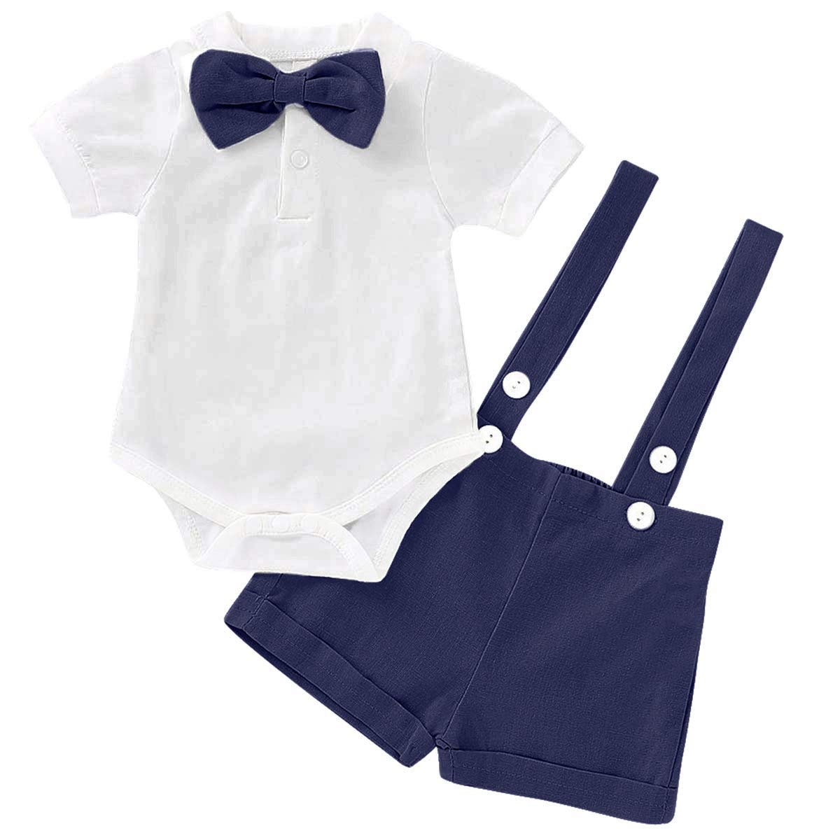 SOBOWO Baby Boys Gentleman Outfits Suits Infant Long Sleeve Romper + Suspenders Pants + Bow Tie Wedding Baptism Clothing Set