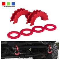 "BUNKER INDUST D Ring/Shackle Isolator Kit,1 Pair Red D-Ring Isolator and 4 Pcs Washers Dring Cover Fit for 3/4"" Shackle Hooks 4x4 Off Road Jeep Accessories Protect Bumper and Reduce Rattling"