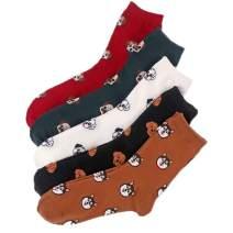 Dealswin Women's Funny Socks 5 Pairs Cozy Cute Dog Socks Fun Socks Novelty Cotton Socks for Women girls Gifts