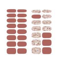 [N Mute Blusher] Real Gel Nail Strip by ohora - 30pcs with Prep pad, Mini Nail File, Wood Stick, DIY Nail Art Starter Kit, No Glue, Non Soak-Off
