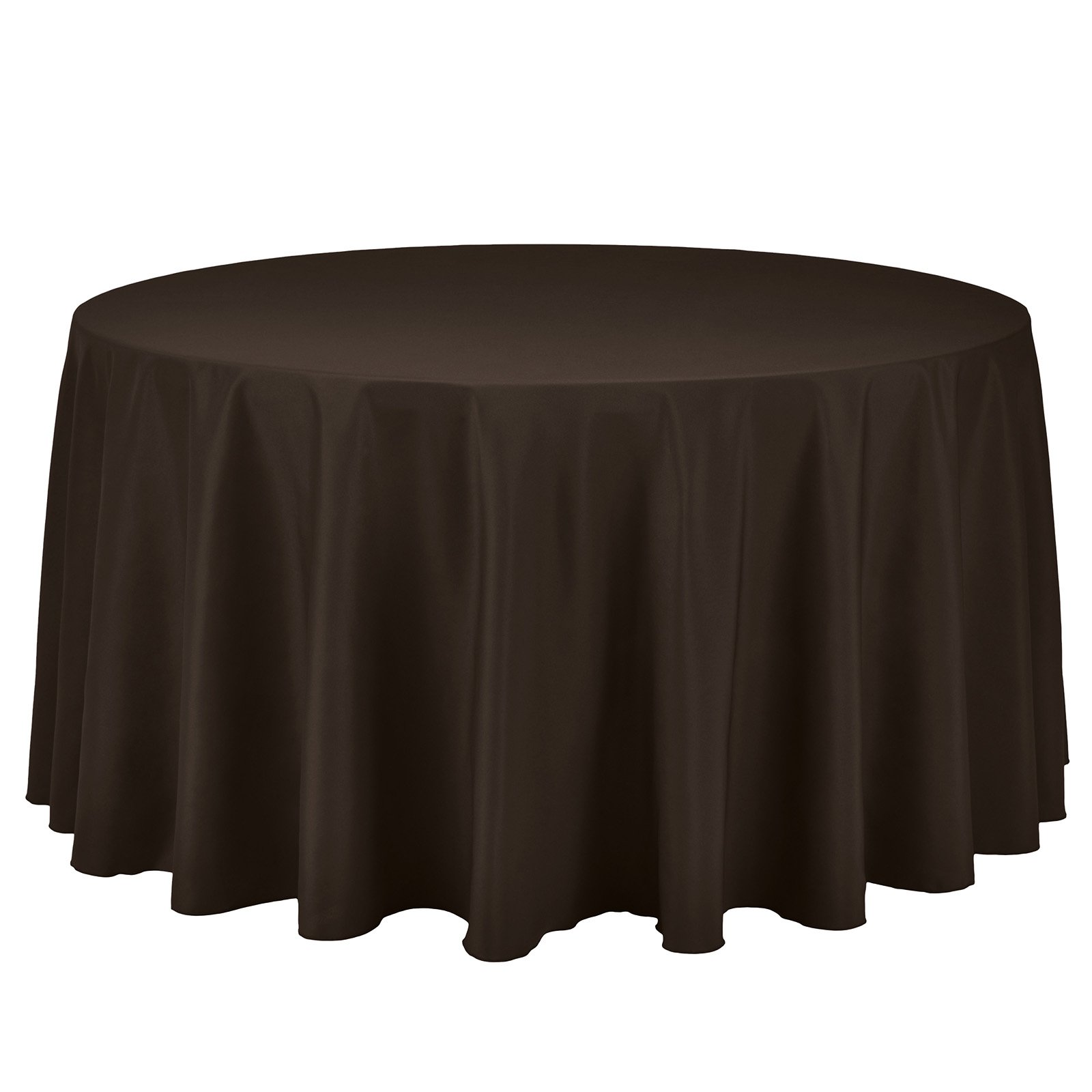 Remedios Round Tablecloth Solid Color Polyester Table Cloth for Bridal Shower Wedding Table – Wrinkle Free Dinner Tablecloth for Restaurant Party Banquet (Chocolate, 108 inch)