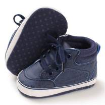 TIMATEGO Infant Baby Boys Girls Sneaker High Top Ankle Booties Non Slip Soft Sole Toddler First Walker Crib Shoes(3-18 Months)