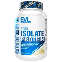 Evlution Nutrition 100% Isolate, Whey Isolate Protein Powder, 25 G of Fast Absorbing Protein, No Sugar Added, Low-Carb, Gluten-Free (Vanilla Ice Cream, 1.6 LB)