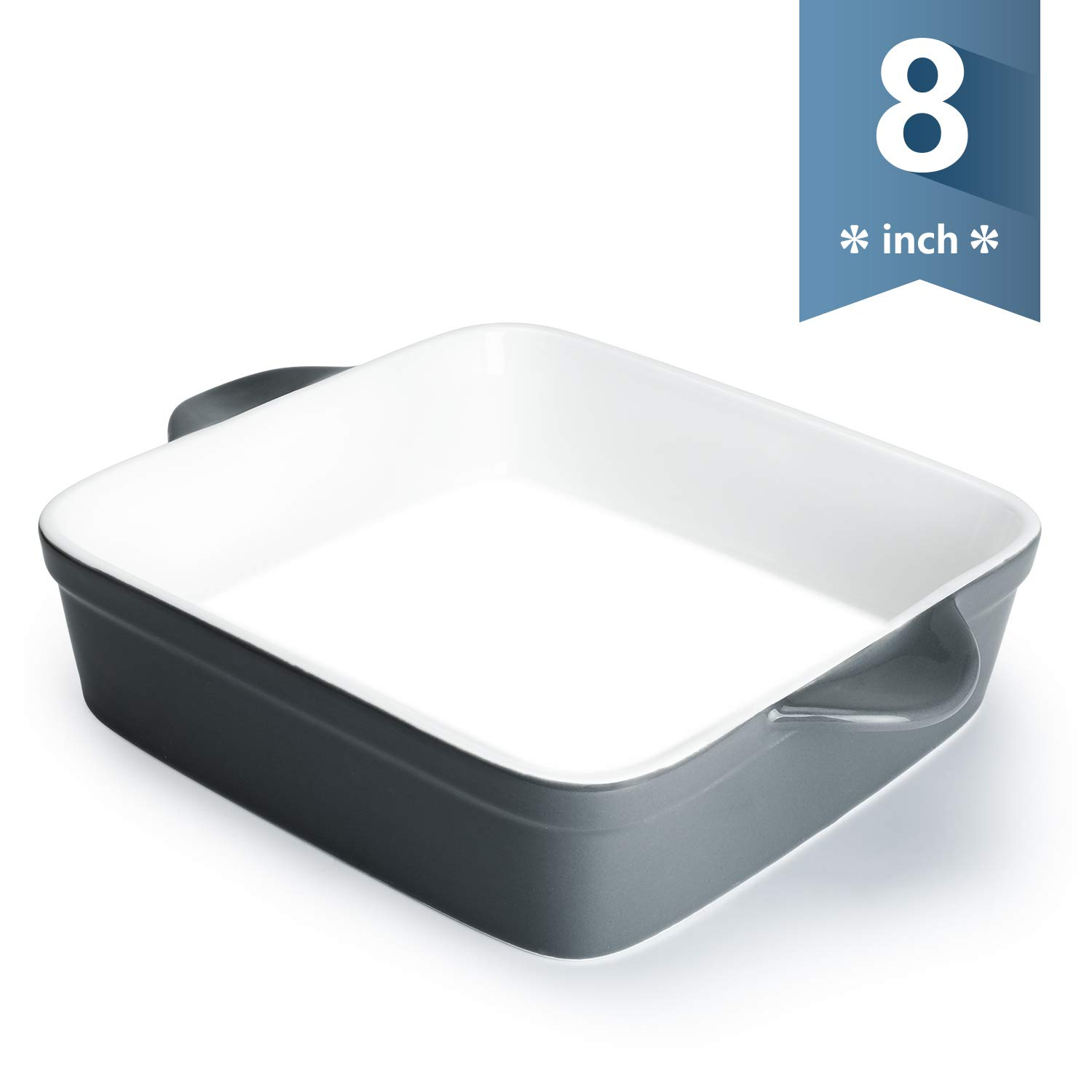 Sweese 514.113 Porcelain Baking Dish, 8 x 8 inch Baker, Square Brownie Pan with Double Handle, Grey