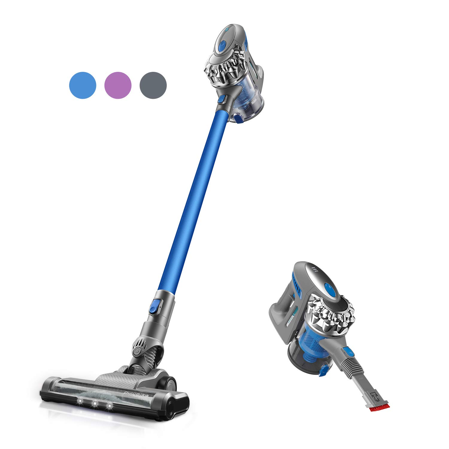 Puweike Cordless Stick Vacuum Cleaner - Hardwood Floors, Carpets and Pet Hair, Wireless Vacuum Cleaner 12Kpa Powerful Suction with Rechargeable Battery, 2 in 1 Design, P80 (Blue)