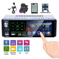 Single Din Touch Screen Car Stereo 4.1 Inch Bluetooth AM FM RDS Radio Receiver with Rear Microphone Input USB SD AUX Input + Rear View Camera Steering Wheel Control Microphone