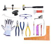 Professional 16 Pieces Mosaic Tile and Stained Glass Start-up Tool Set with Carrying Case, Lead Came Kit for Beginner with Cutters, Pliers, Square, Hammer, FID, Safety Glass, etc.