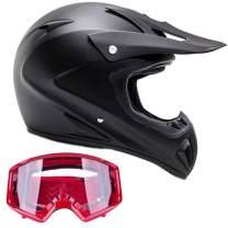 Typhoon Adult ATV Helmet & Goggles Gear Combo, Black w/Red (Small)